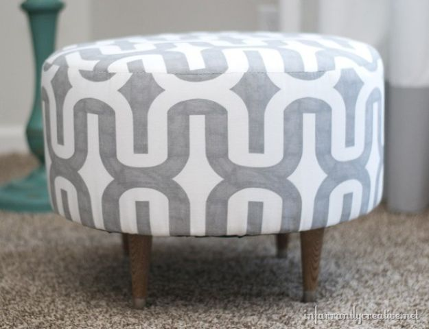 DIY Bedroom Decor Ideas - Ottoman From An Old Electrical Spool - Easy Room Decor Projects for The Home - Cheap Farmhouse Crafts, Wall Art Idea, Bed and Bedding, Furniture
