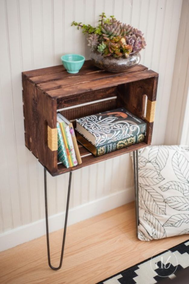 DIY Bedroom Decor Ideas - Painted Crate Hairpin Side Table - Easy Room Decor Projects for The Home - Cheap Farmhouse Crafts, Wall Art Idea, Bed and Bedding, Furniture