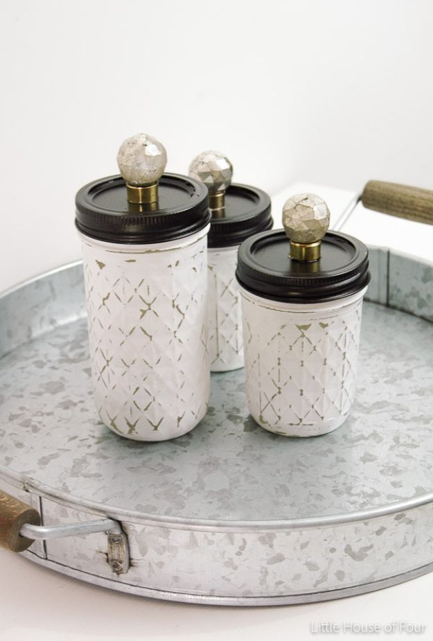 Fun DIY Ideas for Adults - Painted and Distressed Mason Jar Storage - Easy Crafts and Gift Ideas , Cool Projects That Are Fun to Make - Crafts Idea for Men and Women