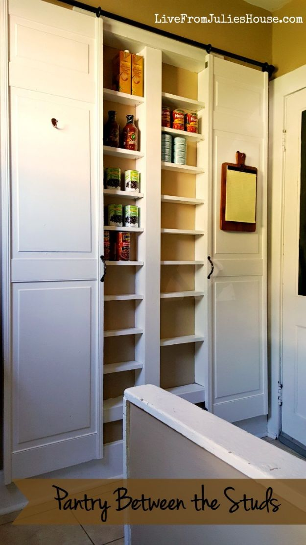 DIY Pantry Organizing Ideas - Pantry Between the Studs - Easy Organization for the Kitchen Pantry - Cheap Shelving and Storage Jars, Labels, Containers, Baskets to Organize Cans and Food, Spices
