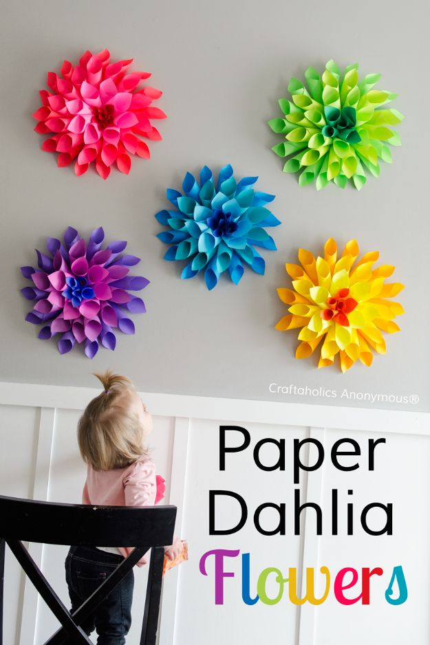 DIY Nursery Decor Ideas for Girls - Paper Dahlia Flowers - Cute Pink Room Decorations for Baby Girl - Crib Bedding, Changing Table, Organization Idea, Furniture and Easy Wall Art