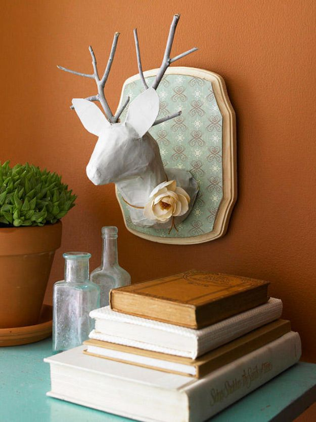 DIY Nursery Decor Ideas for Girls - Paper Mache Stag Head - Cute Pink Room Decorations for Baby Girl - Crib Bedding, Changing Table, Organization Idea, Furniture and Easy Wall Art