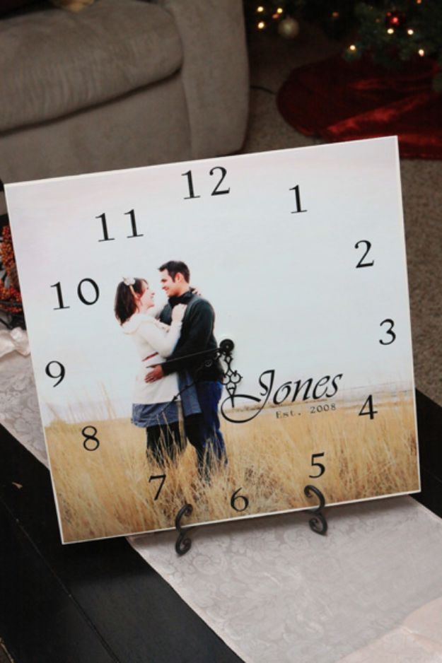 DIY Gifts for Him - Personal Picture Clocks - Homemade Gift Ideas for Guys - DYI Christmas Gift for Dad, Boyfriend, Husband Brother - Easy and Cheap Handmade Presents Birthday #diy #gifts #diygifts #mensgifts