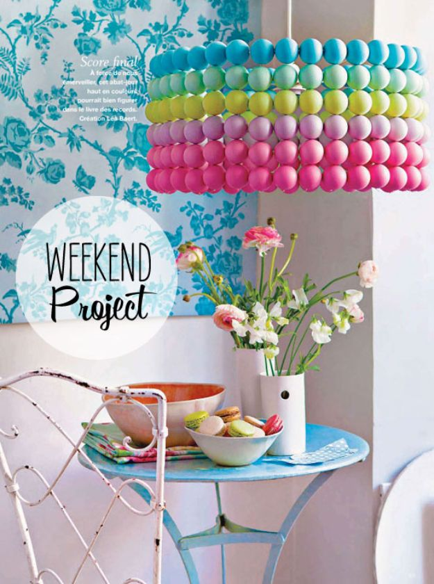 DIY Bedroom Decor Ideas - Ping Pong Ball Pendant - Easy Room Decor Projects for The Home - Cheap Farmhouse Crafts, Wall Art Idea, Bed and Bedding, Furniture