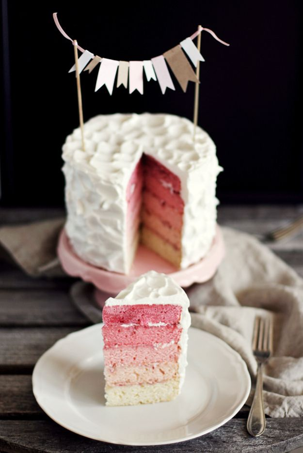 Baby Shower Cakes DIY - Pink Rainbow Cake - Easy Cake Recipes and Cupcakes to Make For Babies Showers - Ideas for Boys and Girls, Neutral, for Twins