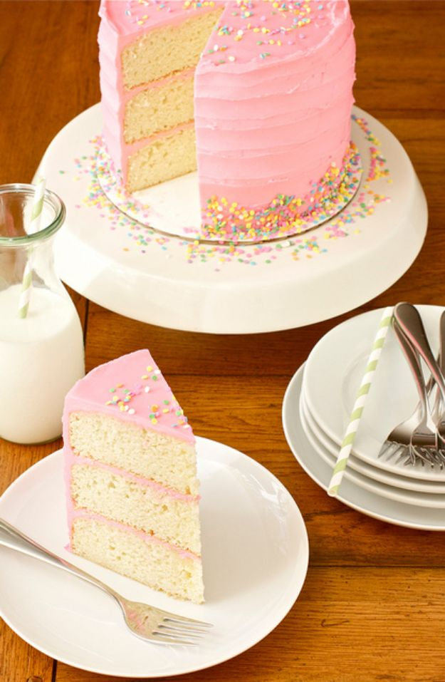 Baby Shower Cakes DIY - Pink Vanilla Bean Cake - Easy Cake Recipes and Cupcakes to Make For Babies Showers - Ideas for Boys and Girls, Neutral, for Twins