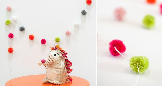 DIY Nursery Decor Ideas for Girls - Pom Pom Garland - Cute Pink Room Decorations for Baby Girl - Crib Bedding, Changing Table, Organization Idea, Furniture and Easy Wall Art