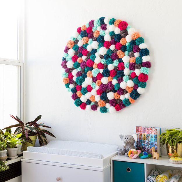 DIY Nursery Decor Ideas for Boys - Pom Pom Wall Art - Cute Blue Room Decorations for Baby Boy- Crib Bedding, Changing Table, Organization Idea, Furniture and Easy Wall Art