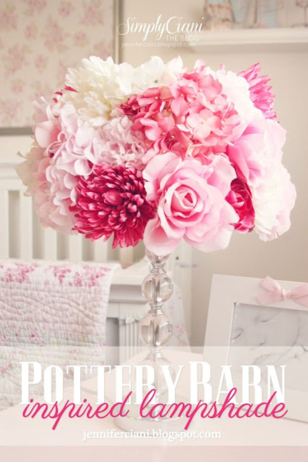 DIY Bedroom Decor Ideas - Pottery Barn Inspired Lampshade - Easy Room Decor Projects for The Home - Cheap Farmhouse Crafts, Wall Art Idea, Bed and Bedding, Furniture