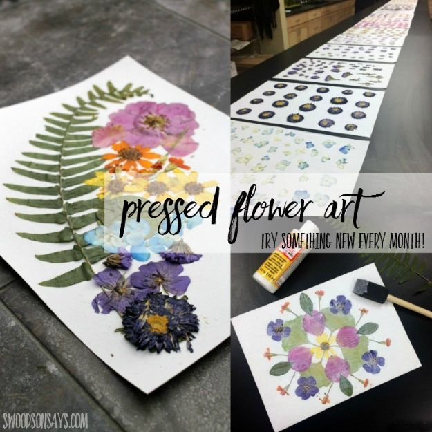 Fun DIY Ideas for Adults - Pressing Flowers & Dried Flower Art - Easy Crafts and Gift Ideas , Cool Projects That Are Fun to Make - Crafts Idea for Men and Women