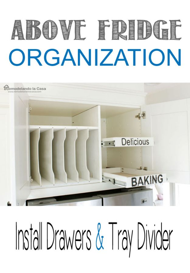 DIY Kitchen Cabinets - Pull-out Drawers in Cabinet above Fridge - Makeover Ideas for Kitchen Cabinet - Build and Design Kitchen Cabinet Projects on A Budget - Cheap Reface Idea and Tutorial