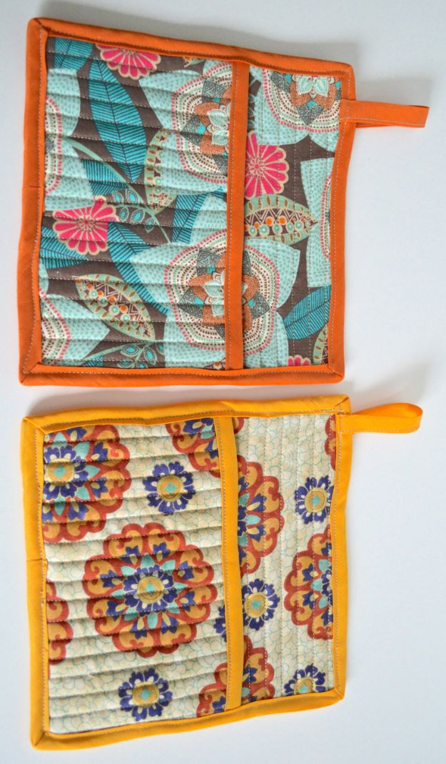 Easy Quilt Ideas for Beginners - Quilted Pot Holders - Free Quilt Patterns and Simple Projects With Fat Quarters - How to Make Baby Blankets, Table Runners, Jelly Rolls