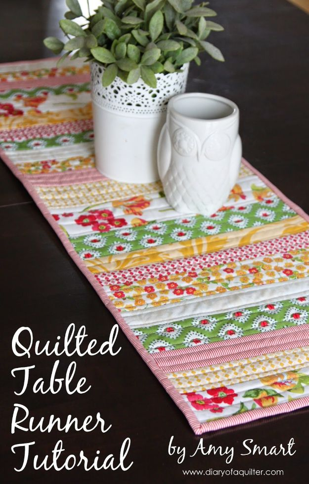 Easy Quilt Ideas for Beginners - Quilted Table Runner - Free Quilt Patterns and Simple Projects With Fat Quarters - How to Make Baby Blankets, Table Runners, Jelly Rolls