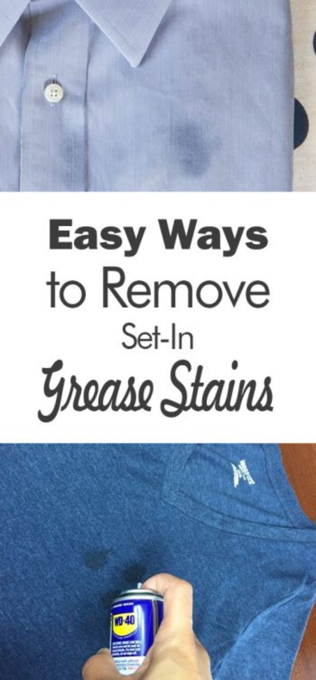 Laundry Hacks - Remove Set-In Grease Stains - Cool Tips for Busy Moms and Laundry Lifehacks - Laundry Room Organizing Ideas, Storage and Makeover - Folding, Drying, Cleaning and Stain Removal Tips for Clothes - How to Remove Stains, Paint, Ink and Smells - Whitening Tricks and Solutions - DIY Products and Recipes for Clothing Soaps http://diyjoy.com/laundry-hacks