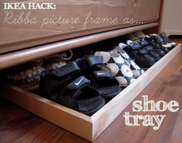 DIY Shoe Racks - Ribba Picture Frame as Shoe Tray - Easy DYI Shoe Rack Tutorial - Cheap Closet Organization Ideas for Shoes - Wood Racks, Cubbies and Shelves to Make for Shoes