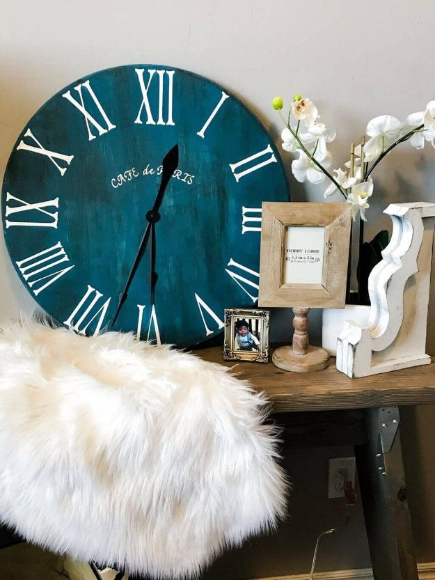 DIY Rroom Decor Ideas - Roman Numeral Clock - Easy Bedroom Decor Projects for The Home - Rustic DIY Clocks Large -Cheap Farmhouse Crafts, Wall Art Idea, Bed and Bedding, Furniture