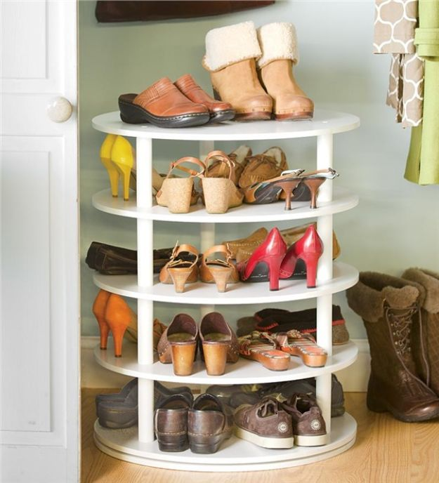 DIY Shoe Racks - Rotating Shoe Rack - Easy DYI Shoe Rack Tutorial - Cheap Closet Organization Ideas for Shoes - Wood Racks, Cubbies and Shelves to Make for Shoes