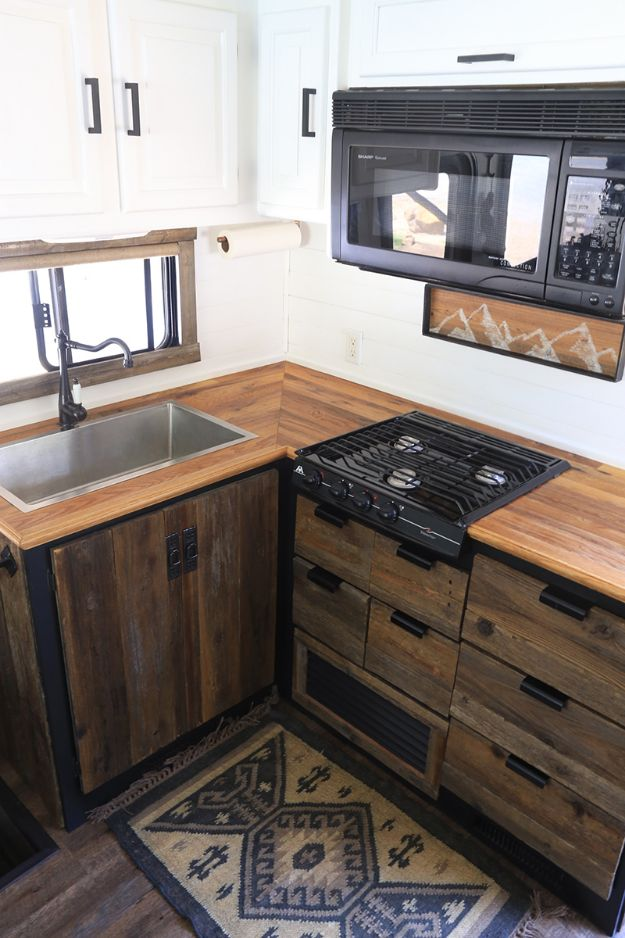 DIY Kitchen Cabinets - Rustic Modern RV Kitchen Cabinet - Makeover Ideas for Kitchen Cabinet - Build and Design Kitchen Cabinet Projects on A Budget - Cheap Reface Idea and Tutorial