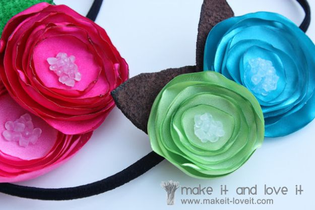 Fun DIY Ideas for Adults - Satin Flower Headbands - Easy Crafts and Gift Ideas , Cool Projects That Are Fun to Make - Crafts Idea for Men and Women