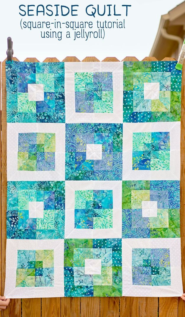 Easy Quilt Ideas for Beginners - Seaside Squares Lap Quilt - Free Quilt Patterns and Simple Projects With Fat Quarters - How to Make Baby Blankets, Table Runners, Jelly Rolls