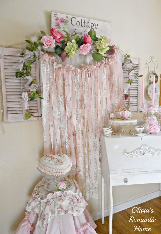 DIY Bedroom Decor Ideas - Shabby Chic Rag Garlands - Easy Room Decor Projects for The Home - Cheap Farmhouse Crafts, Wall Art Idea, Bed and Bedding, Furniture