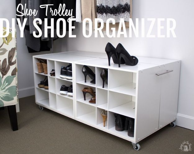 DIY Shoe Racks - Shoe Trolley DIY Shoe Organizer - Easy DYI Shoe Rack Tutorial - Cheap Closet Organization Ideas for Shoes - Wood Racks, Cubbies and Shelves to Make for Shoes