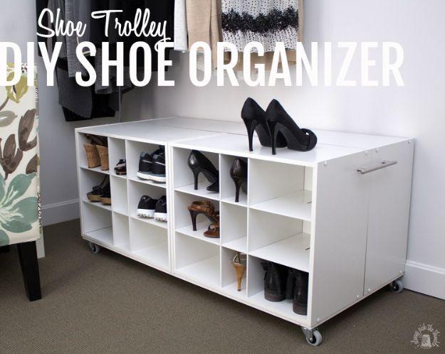 DIY Shoe Racks - Shoe Trolley DIY Shoe Organizer - Easy DYI Shoe Rack Tutorial - Cheap Closet Organization Ideas for Shoes - Wood Racks, Cubbies and Shelves to Make for Shoes
