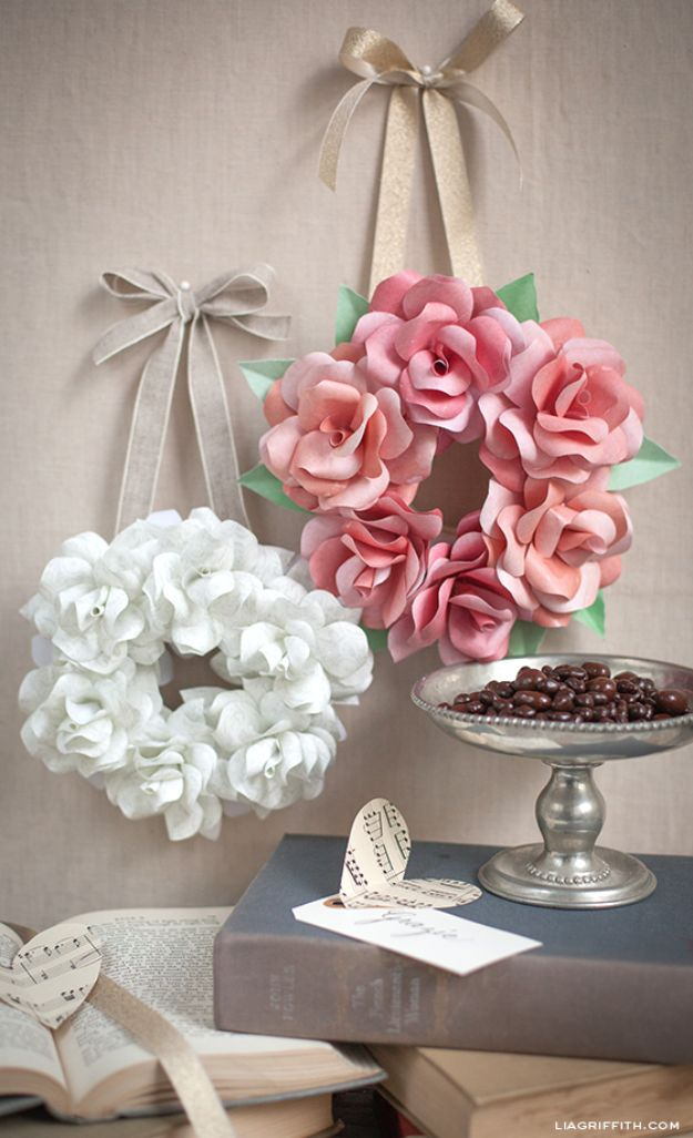 DIY Bedroom Decor Ideas - Simple Mini Paper Rose Wreath - Easy Room Decor Projects for The Home - Cheap Farmhouse Crafts, Wall Art Idea, Bed and Bedding, Furniture