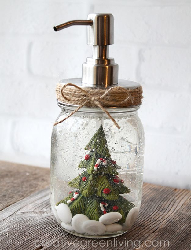 DIY Soap Dispensers - Snow Globe-Inspired Soap Pump - Easy Soap Dispenser Ideas to Make for Kitchen, Bathroom - Mason Jar Idea, Cute Crafts to Make and Sell, Kids Bath Decor