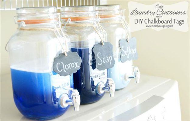DIY Soap Dispensers - Soap Dispenser With Chalkboard Tags - Easy Soap Dispenser Ideas to Make for Kitchen, Bathroom - Mason Jar Idea, Cute Crafts to Make and Sell, Kids Bath Decor