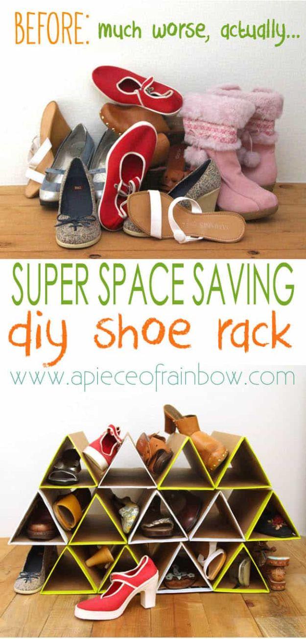 DIY Shoe Racks - Space Saving Shoe Rack - Easy DYI Shoe Rack Tutorial - Cheap Closet Organization Ideas for Shoes - Wood Racks, Cubbies and Shelves to Make for Shoes