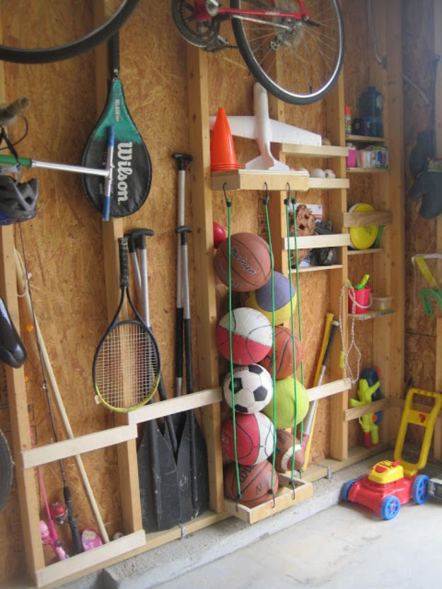 DIY Garage Organization Ideas - Sporting Goods Storage - Cheap Ways to Organize Garages on A Budget - Ideas for Storage, Storing Tools, Small Spaces, DYI Shelves, Organizing Hacks