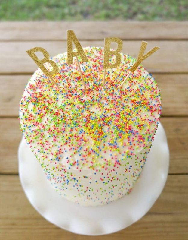 Baby Shower Cakes DIY - Sprinkle-tastic Gender Reveal Cake - Easy Cake Recipes and Cupcakes to Make For Babies Showers - Ideas for Boys and Girls, Neutral, for Twins
