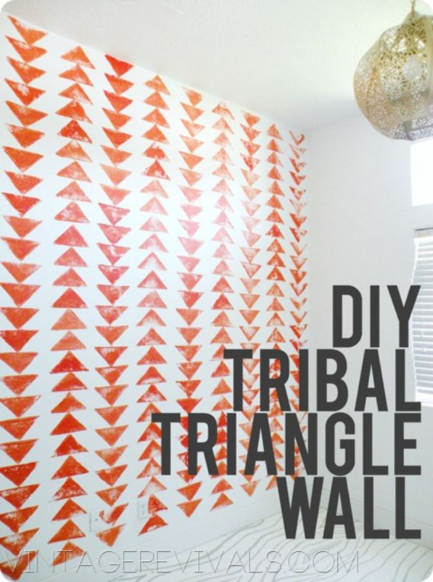 DIY Nursery Decor Ideas for Boys - Stamped Tribal Triangle Chain Wall - Cute Blue Room Decorations for Baby Boy- Crib Bedding, Changing Table, Organization Idea, Furniture and Easy Wall Art