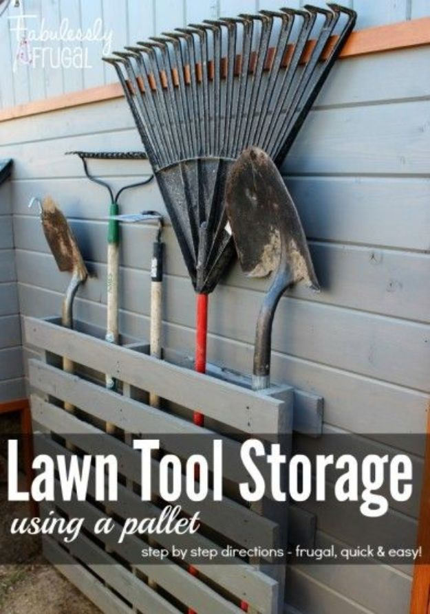 DIY Garage Organization Ideas - Store Lawn Tools With a Pallet - Cheap Ways to Organize Garages on A Budget - Ideas for Storage, Storing Tools, Small Spaces, DYI Shelves, Organizing Hacks