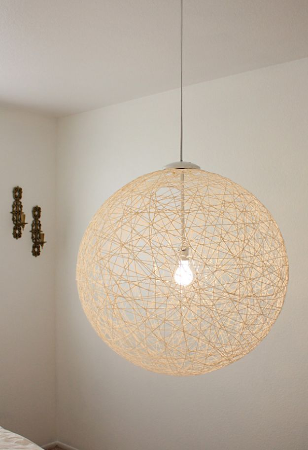 DIY Bedroom Decor Ideas - String Pendant Light - Easy Room Decor Projects for The Home - Cheap Farmhouse Crafts, Wall Art Idea, Bed and Bedding, Furniture
