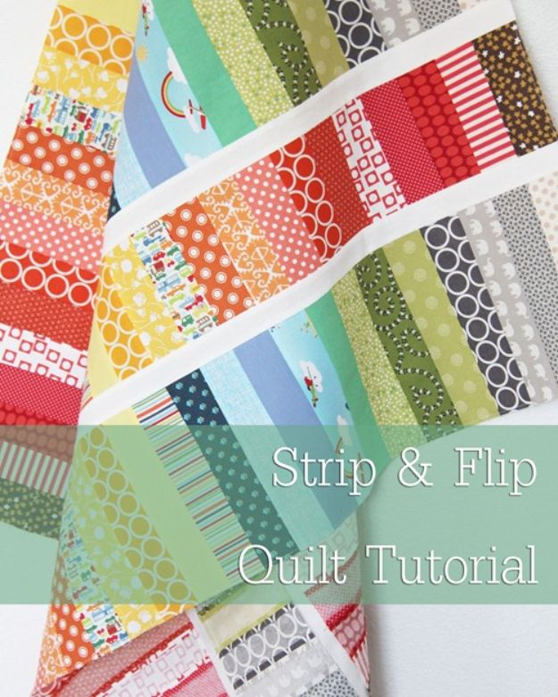 Easy Quilt Ideas for Beginners - Strip and Flip Baby Quilt - Free Quilt Patterns and Simple Projects With Fat Quarters - How to Make Baby Blankets, Table Runners, Jelly Rolls