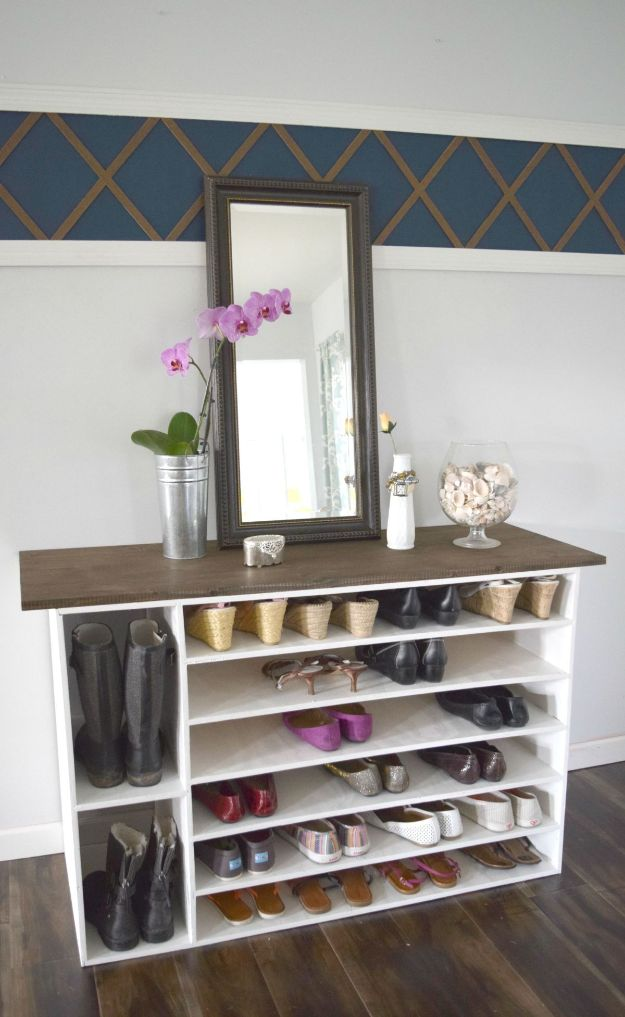 DIY Shoe Racks - Stylish DIY Shoe Rack Perfect for Any Room - Easy DYI Shoe Rack Tutorial - Cheap Closet Organization Ideas for Shoes - Wood Racks, Cubbies and Shelves to Make for Shoes