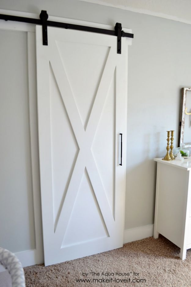 DIY Bedroom Decor Ideas - Super Simple Barn Door - Easy Room Decor Projects for The Home - Cheap Farmhouse Crafts, Wall Art Idea, Bed and Bedding, Furniture