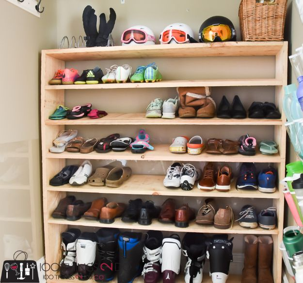 DIY Shoe Racks - Super-sized Shoe Rack - Easy DYI Shoe Rack Tutorial - Cheap Closet Organization Ideas for Shoes - Wood Racks, Cubbies and Shelves to Make for Shoes