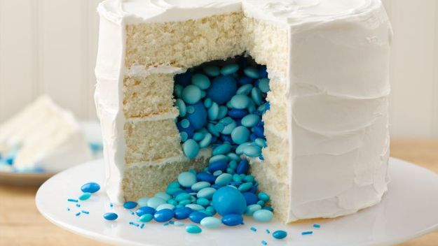 Baby Shower Cakes DIY - Surprise on the Inside Gender Reveal Cake - Easy Cake Recipes and Cupcakes to Make For Babies Showers - Ideas for Boys and Girls, Neutral, for Twins