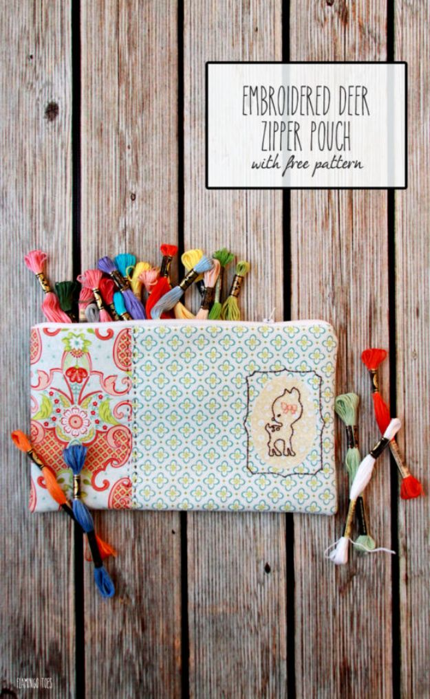 Sewing Projects for Fat Quarters - Sweet Deer Embroidered Zipper Pouch - Easy Ideas to Sew With a Fat Quarter - Quick DIY Gifts, Quilt, Placemats, DIY Baby Gift, Project for The Home, Kids, Christmas