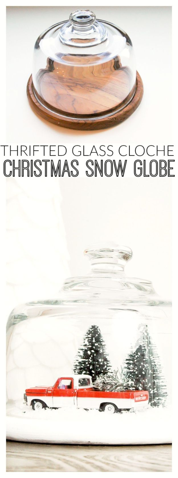 DIY Snow Globe Ideas - Thrifted Glass Cloche Turned Vintage Snow Globe - Easy Ideas To Make Snow Globes With Kids - Mason Jar, Picture, Ornament, Waterless Christmas Crafts - Cheap DYI Holiday Gift Ideas