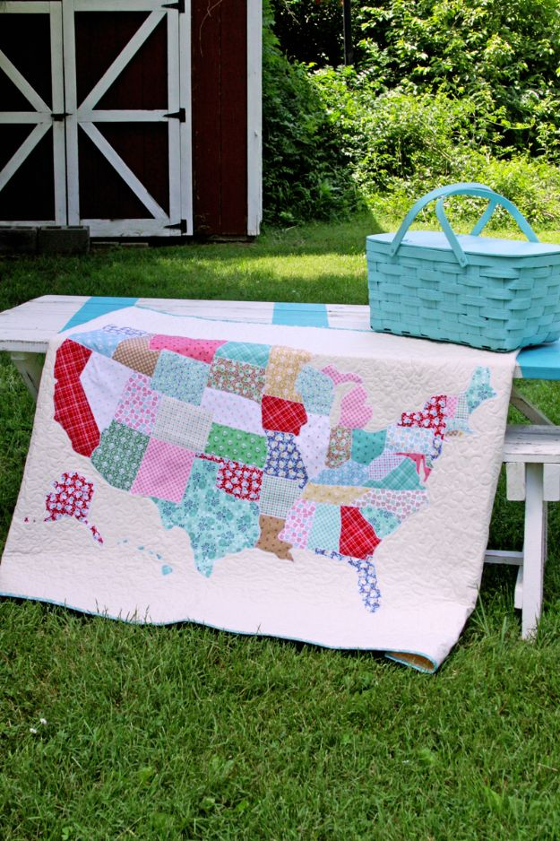 Easy Quilt Ideas for Beginners - US State Map Quilt - Free Quilt Patterns and Simple Projects With Fat Quarters - How to Make Baby Blankets, Table Runners, Jelly Rolls