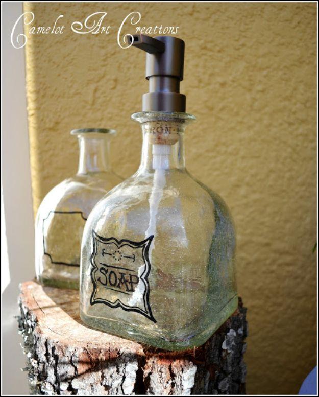 DIY Soap Dispensers - Up-Cycled Patron Bottles Soap Dispensers - Easy Soap Dispenser Ideas to Make for Kitchen, Bathroom - Mason Jar Idea, Cute Crafts to Make and Sell, Kids Bath Decor