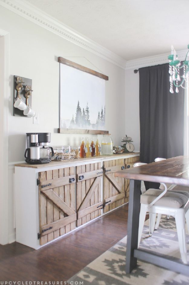DIY Kitchen Cabinets - Upcycled Barnwood Style Sideboard - Makeover Ideas for Kitchen Cabinet - Build and Design Kitchen Cabinet Projects on A Budget - Cheap Reface Idea and Tutorial