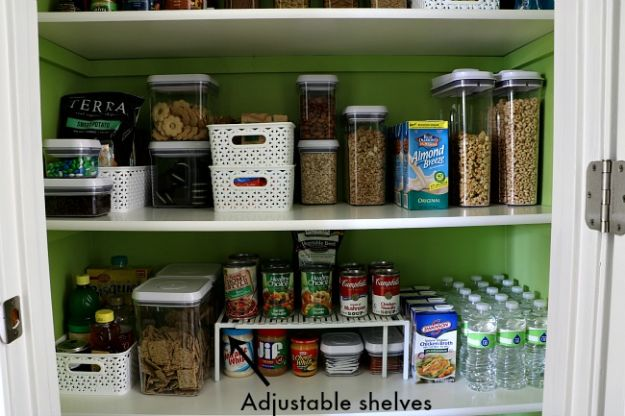 DIY Pantry Organizing Ideas - Use Adjustable Shelves - Easy Organization for the Kitchen Pantry - Cheap Shelving and Storage Jars, Labels, Containers, Baskets to Organize Cans and Food, Spices