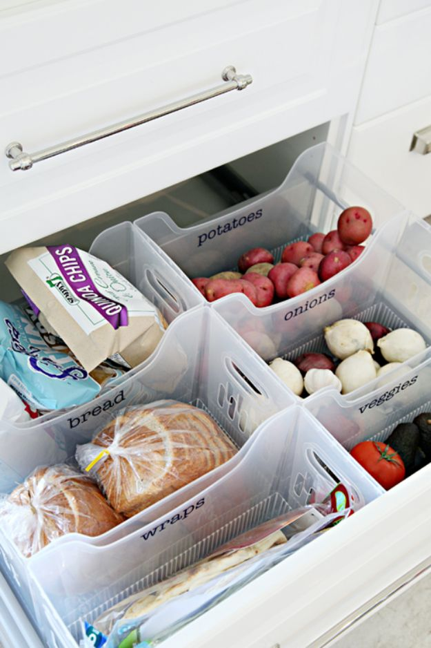 DIY Pantry Organizing Ideas - Use Multi Purpose Bins - Easy Organization for the Kitchen Pantry - Cheap Shelving and Storage Jars, Labels, Containers, Baskets to Organize Cans and Food, Spices