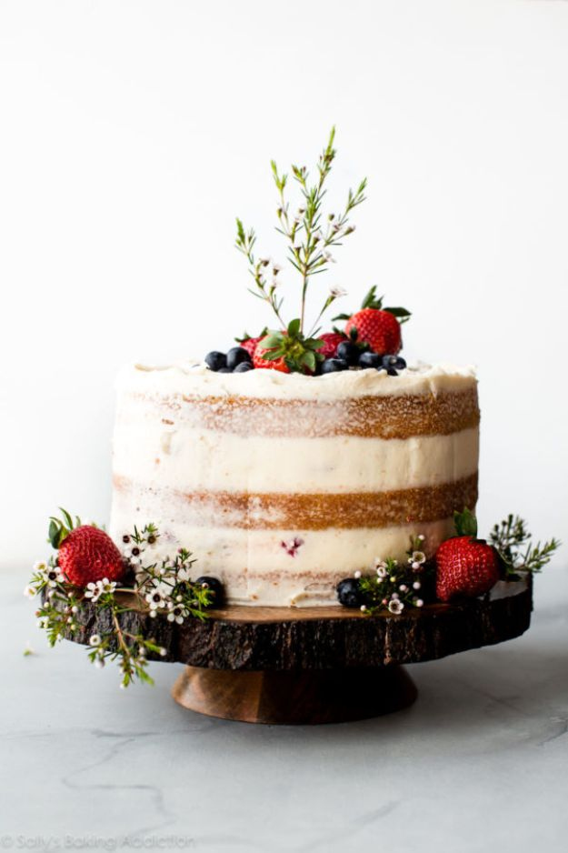Baby Shower Cakes DIY - Vanilla Naked Cake - Easy Cake Recipes and Cupcakes to Make For Babies Showers - Ideas for Boys and Girls, Neutral, for Twins