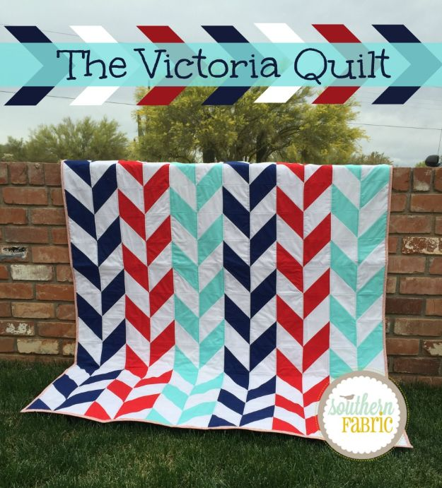 Easy Quilt Ideas for Beginners - Victoria Quilt - Free Quilt Patterns and Simple Projects With Fat Quarters - How to Make Baby Blankets, Table Runners, Jelly Rolls